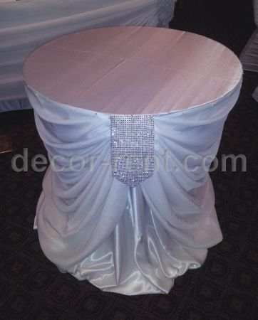 WHITE SATIN WITH SHEER DRAPING AND RHINESTONES ACCENT CAKE TABLE