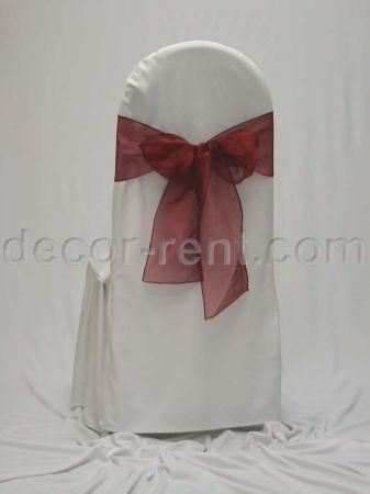 White Tall Back Banquet Chair Cover with Burgundy Organza Bow.