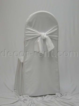 White Tall Back Banquet Chair Cover with Matching Sash.