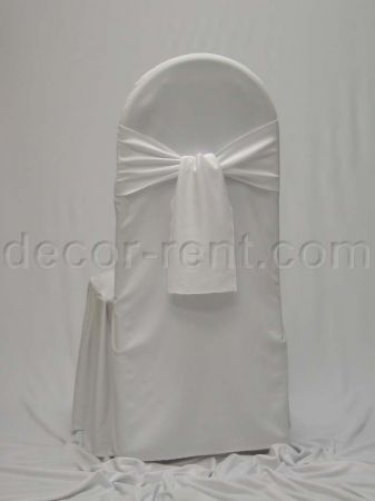 White Tall Back Banquet Chair Cover and Matching Single Knot Tie