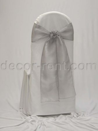 White Tall Back Banquet Chair Cover with Silver Organza Tie.