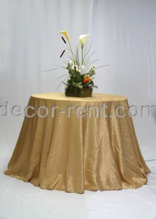 Champagne Crinkle Taffeta Table Linen Rental