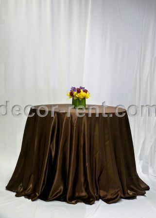 Chocolate Brown Satin Linen Rental