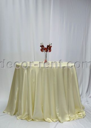 Ivory Satin Table Linen Rental