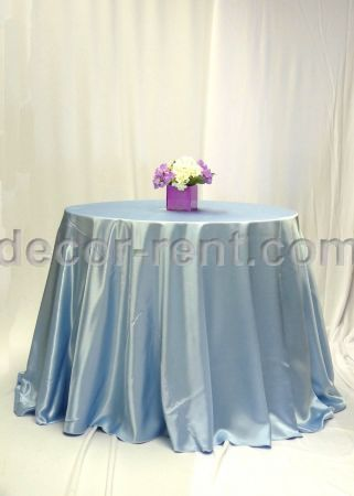 Light Blue Satin Table Linen Rental