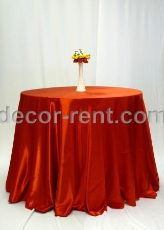 Red Satin Linen Rental