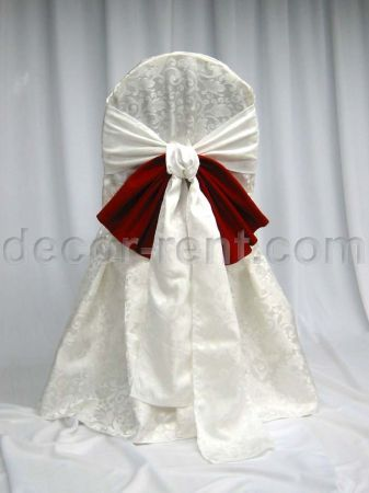 Warm White Brocade Banquet Chair Cover & Brocade Bow with Red