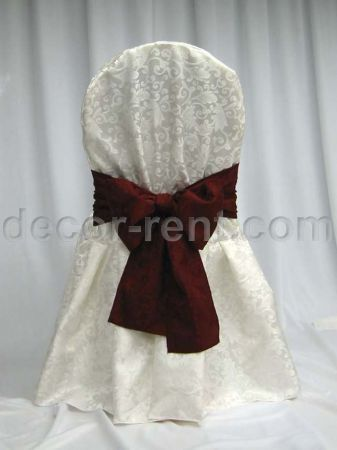 Warm White King Brocade Banquet Chair Cover & King Burgundy Bow.