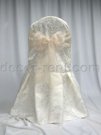 Warm White King Brocade Banquet Chair Cover & Champagne Organza