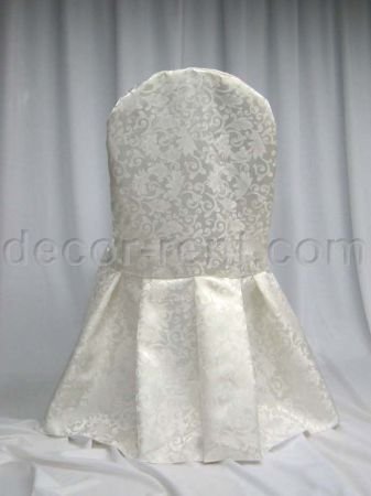 Warm White King Brocade Chair Cover