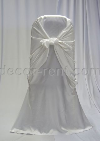 White Satin Fitted Chair Wrap Rentals Toronto