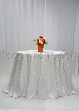White Brocade Linen Rental